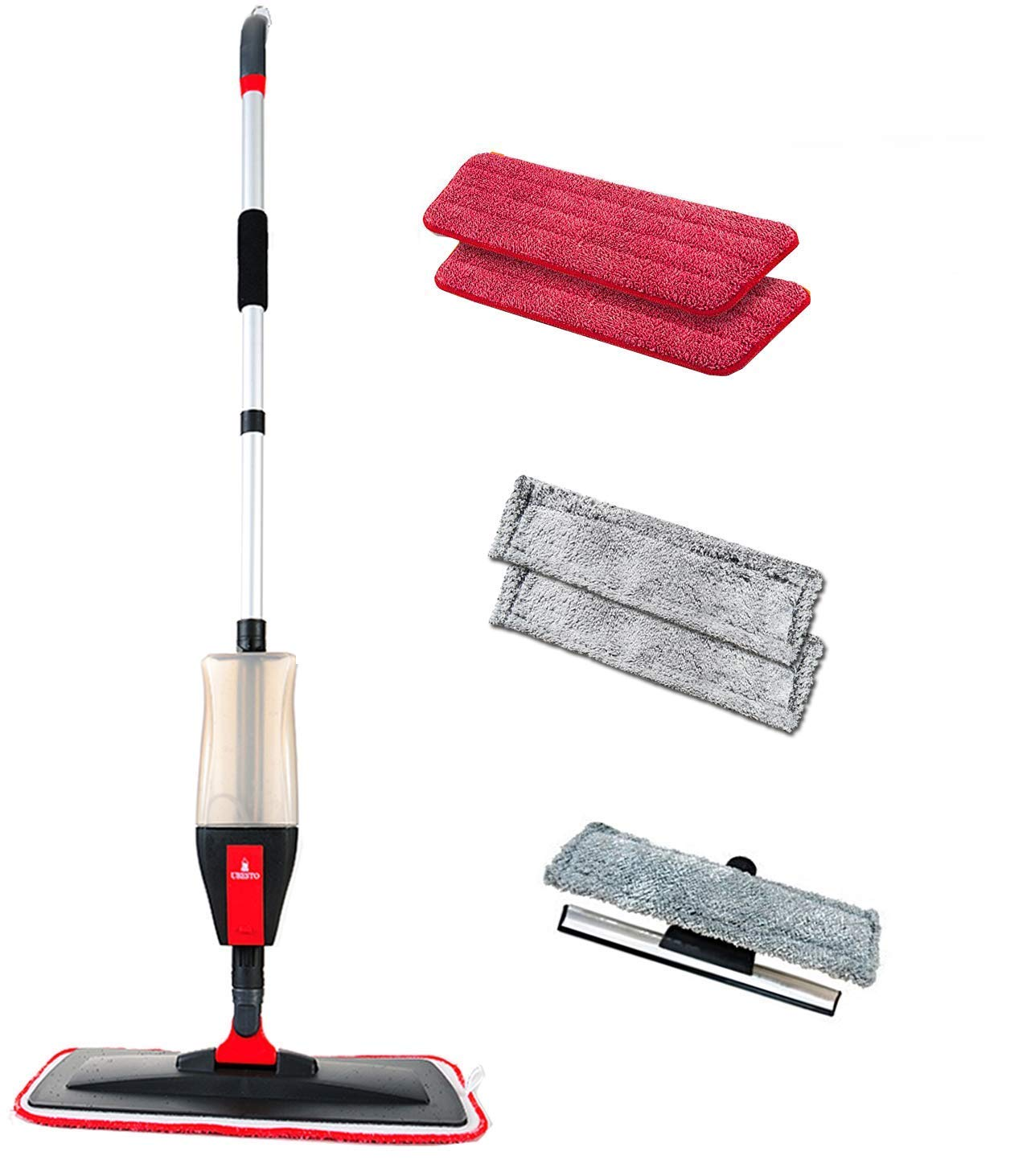 Floor Spray Mop Kit with 3-in- Function Mop Set with 5 FREE Accessories 2 Reusable Microfiber Mop Pad for Wet/Dry Vinyl, Hardwood, Laminate Floor Mopping/Cleaning, 2 Window Cleaner Pad, 1 Glass Wiper