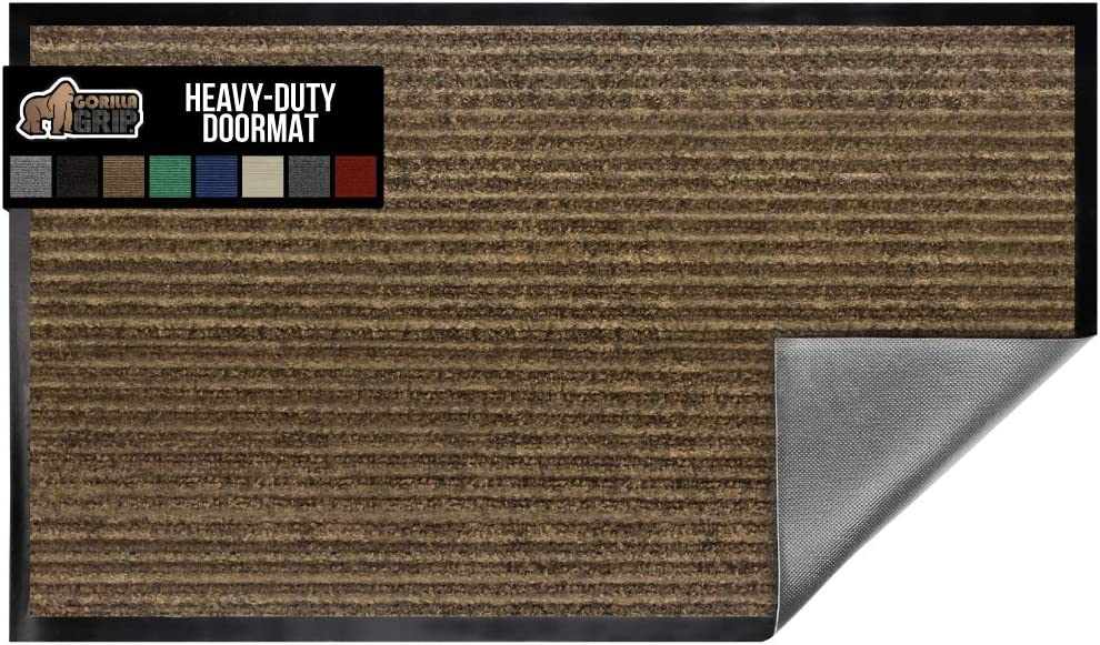 Gorilla Grip Original Low Profile Rubber Door Mat, 47x35, Heavy Duty, Durable Doormat for Indoor and Outdoor, Waterproof, Easy Clean, Home Rug Mats for Entry, Patio, High Traffic, Brown