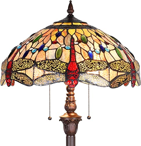 Capulina Hand-Crafted Tiffany Dragonfly Floor Pole Lamp, Tiffany Floor Lamps for Reading, Floor Lamps Tiffany Style Shade W18 , Stained Glass Floor Pole Lamps, Tiffany Standing Lamps Tall 70 inches