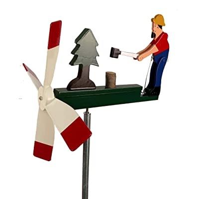 Natures Yard Man Chopping Wood Chopper Whirligig Handmade Made in USA : Garden & Outdoor