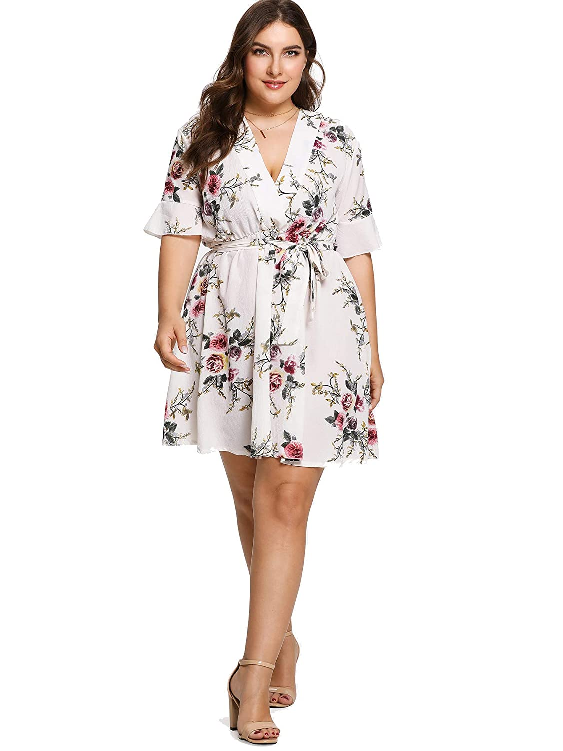 c10a6b23fe2 Milumia Plus Size Fit and Flare Wrap V Neck Floral Print Short Sleeves  Dress Summer Midi Dress at Amazon Women s Clothing store