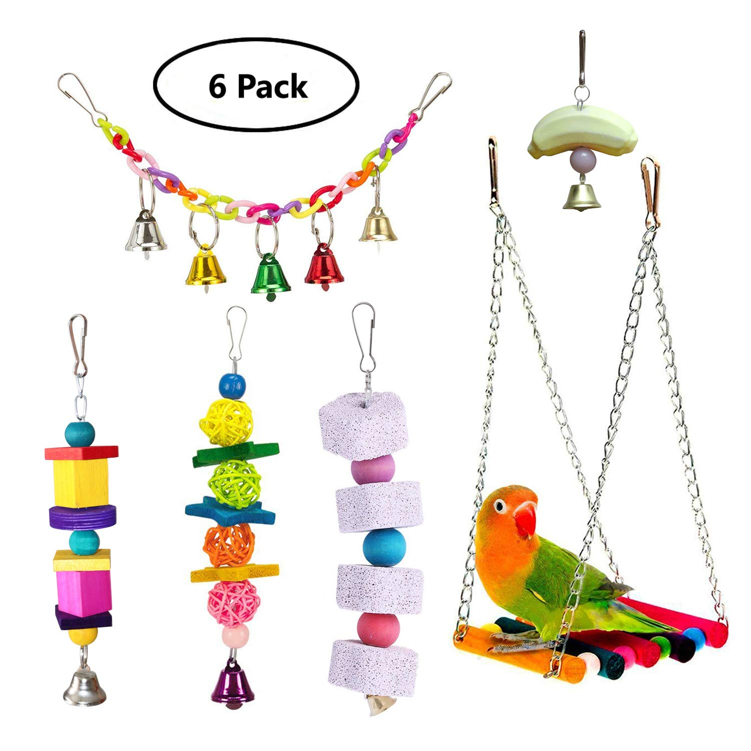 BWOGUE Bird Swing Toys with Bells Pet Bird Parrot Cage Hammock Ladder Hanging Chewing Toy Perch for Budgie Love Birds Conures Small Parakeets Finches Cockatiels (6 Pack) by BWOGUE