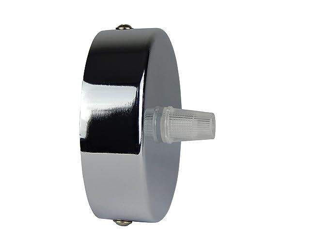 Florón cromo | embellecedor para lámpara de techo, suspensor estándar tamaño m10, 80x25 mm | incl. pasacables/prisionero para fácil montaje | Buchenbusch ...