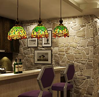 Superb Makenier Vintage Tiffany Style Stained Glass 3 Light Dragonfly Lampshade Dining  Room Bar Pendant Lamp