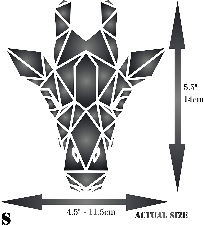 Pour projets papier Pochoir mural verre bois meubles journal S scrapbooking tissu etc Pochoir motif girafe murs D/écoration g/éom/étrique r/éutilisable