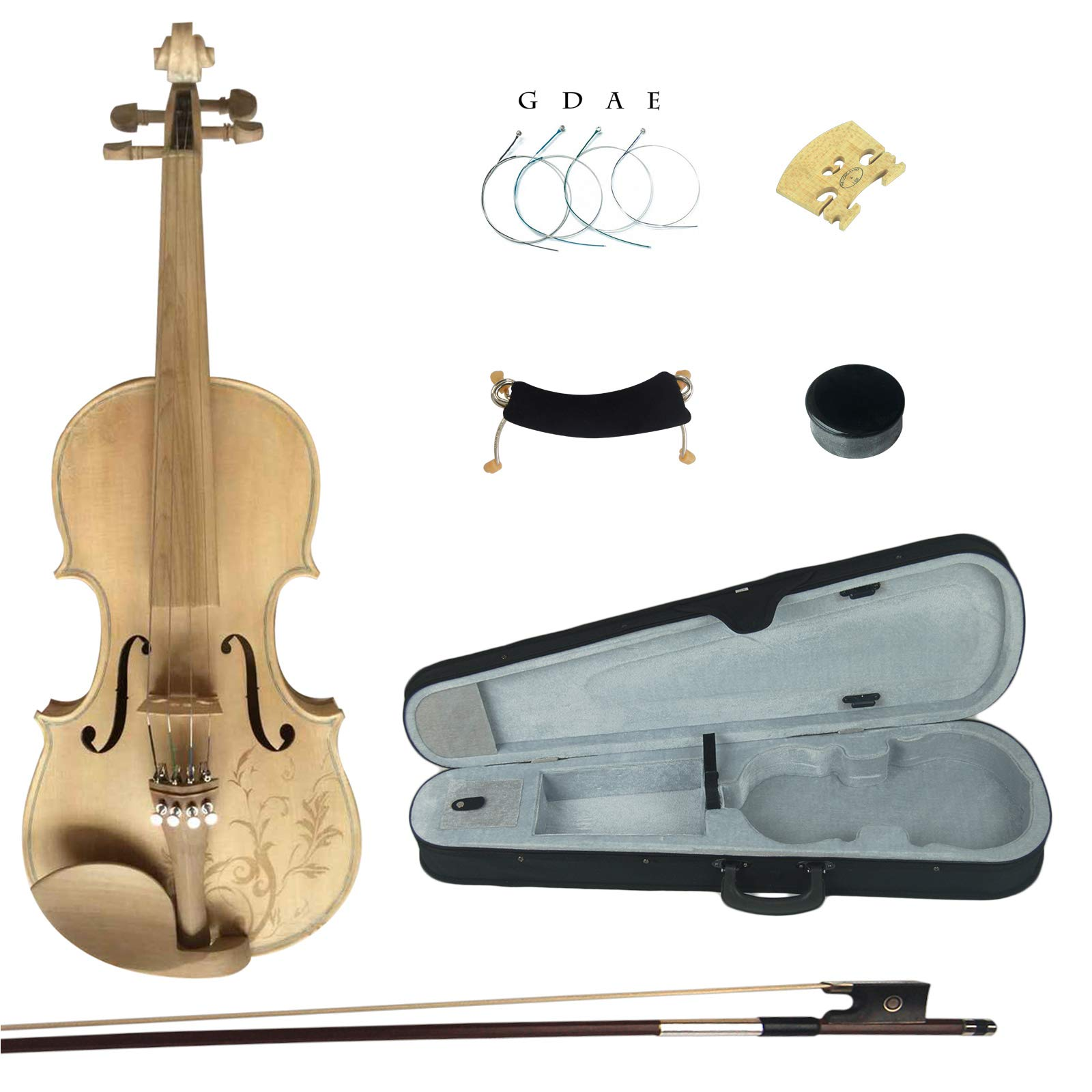 Kinglos 4/4 Flower Carved Ebony Fitted Solid Wood Unpainted Violin Kit with Case, Shoulder Rest, Bow, Rosin, Extra Bridge and Strings Full Size (MS007)