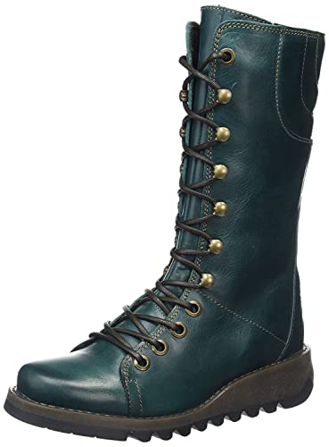Ster768Fly Petrol Leather Womens Mid Calf Boots-41