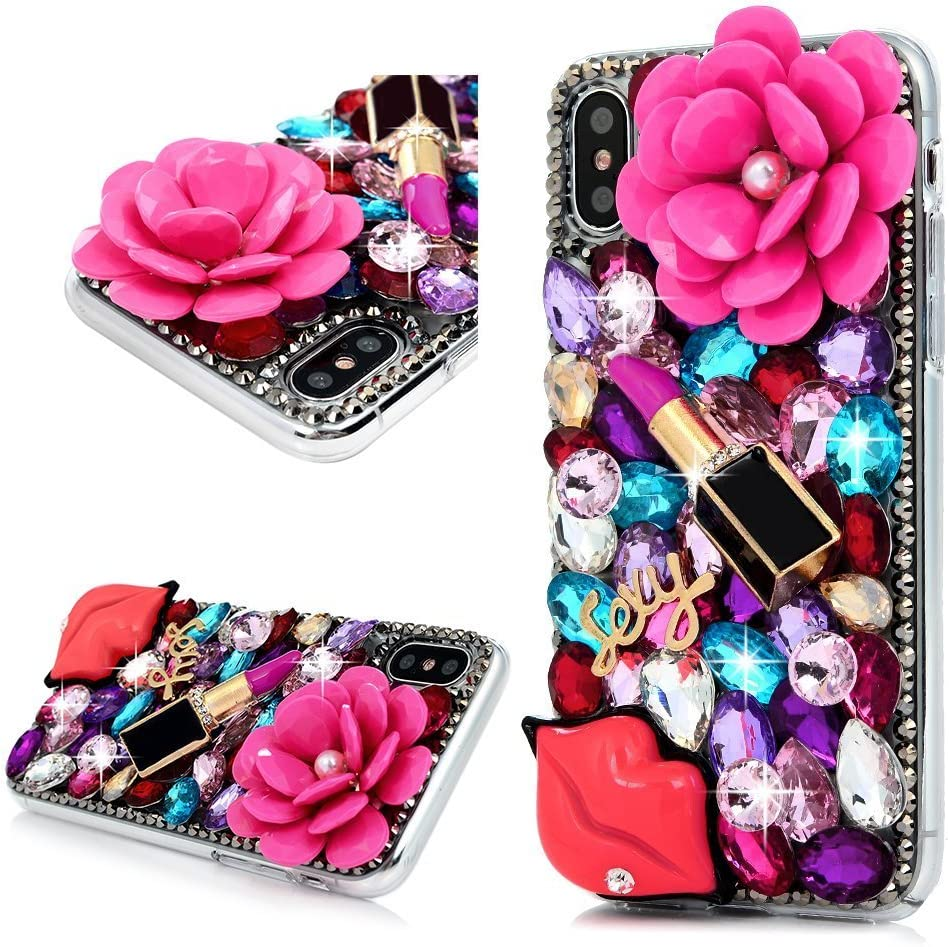 iPhone X Bling Glitter Case, Awsaccy(TM) Unique 3D Handmade Bling Crystal Sparkly Diamond Rhinestone Pink Pearl Floral Lipstick Fashion Design Shiny Case for iPhone X Girls Women