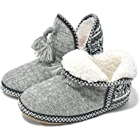 COFACE Ladies Womens Indoor Knitted Slipper Boots with Cosy Faux Fur Lined Non-Slip Sole