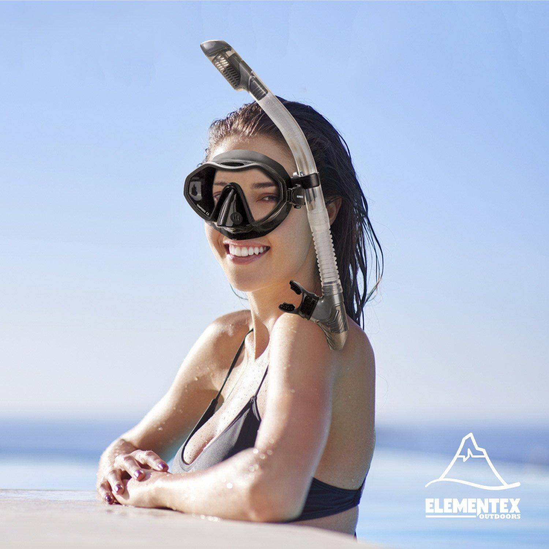 Fins n Top Valve ELEMENTEX Dry Snorkel Set with Scuba Mask
