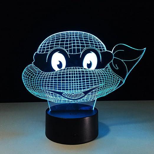 Wzngzj 3D Ilusión Visual Lámpara Tortuga Ninja Tortuga ...