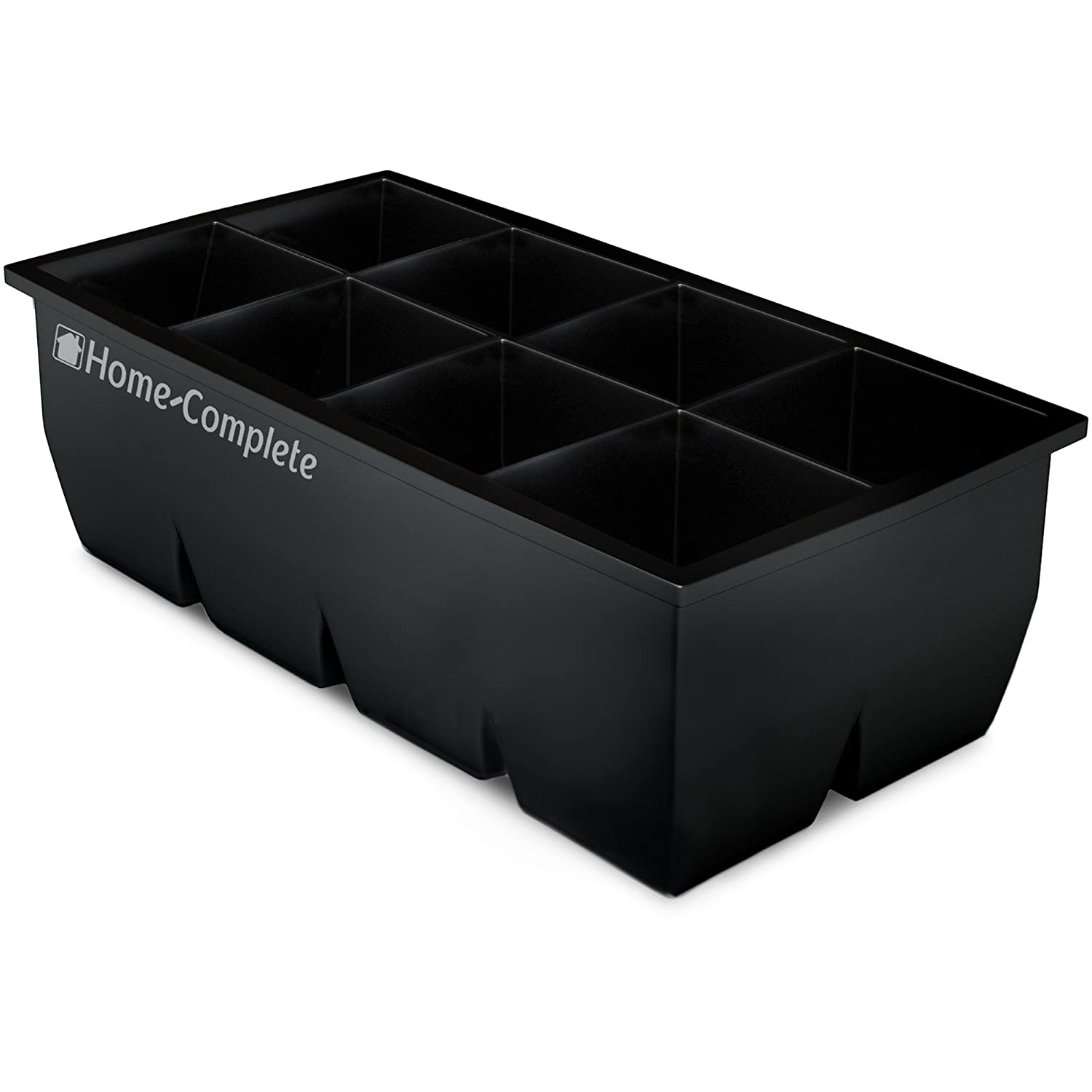 """Home-Complete Large Ice Cube Molds-Silicone Tray Makes 8, 2""""x2"""" Big Cubes-BPA-Free and Flexible-Chill Water, Lemonade, Cocktails, Or Any Beverage"""