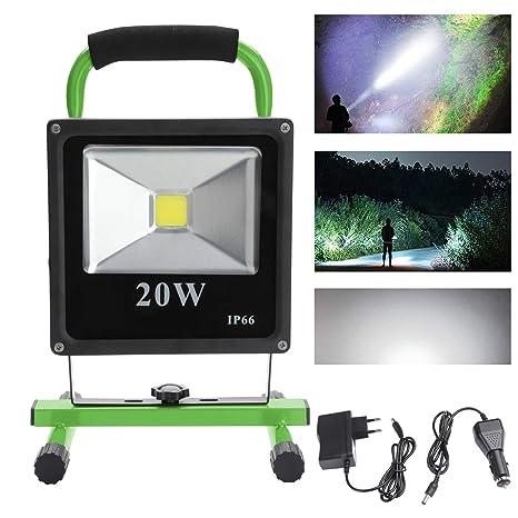 VINGO® 20W LED Foco Recargable Blanco frío Floodlight para Trabajo de Noche Lámpara Exterior LED