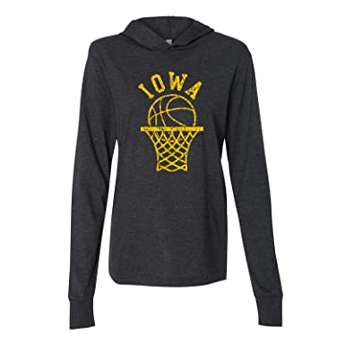 3d9ace9c707 Iowa Hawkeyes Retro Basketball Hoop Canvas Hooded LS T Shirt - X-Small -  Charcoal
