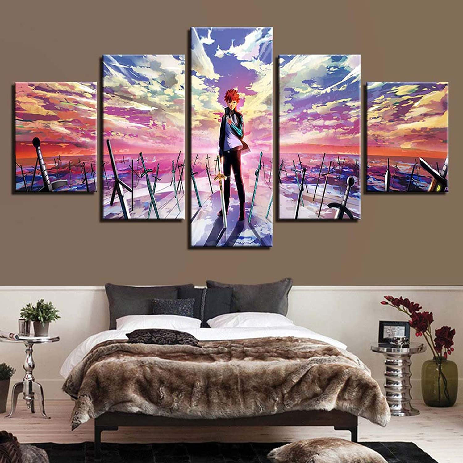 QININQ Canvas Printed Wall Art Picture Artwork 5 Pieces Anime Full Metal Alchemist Edward Elric for Home Decor Bedroom Painting Poster