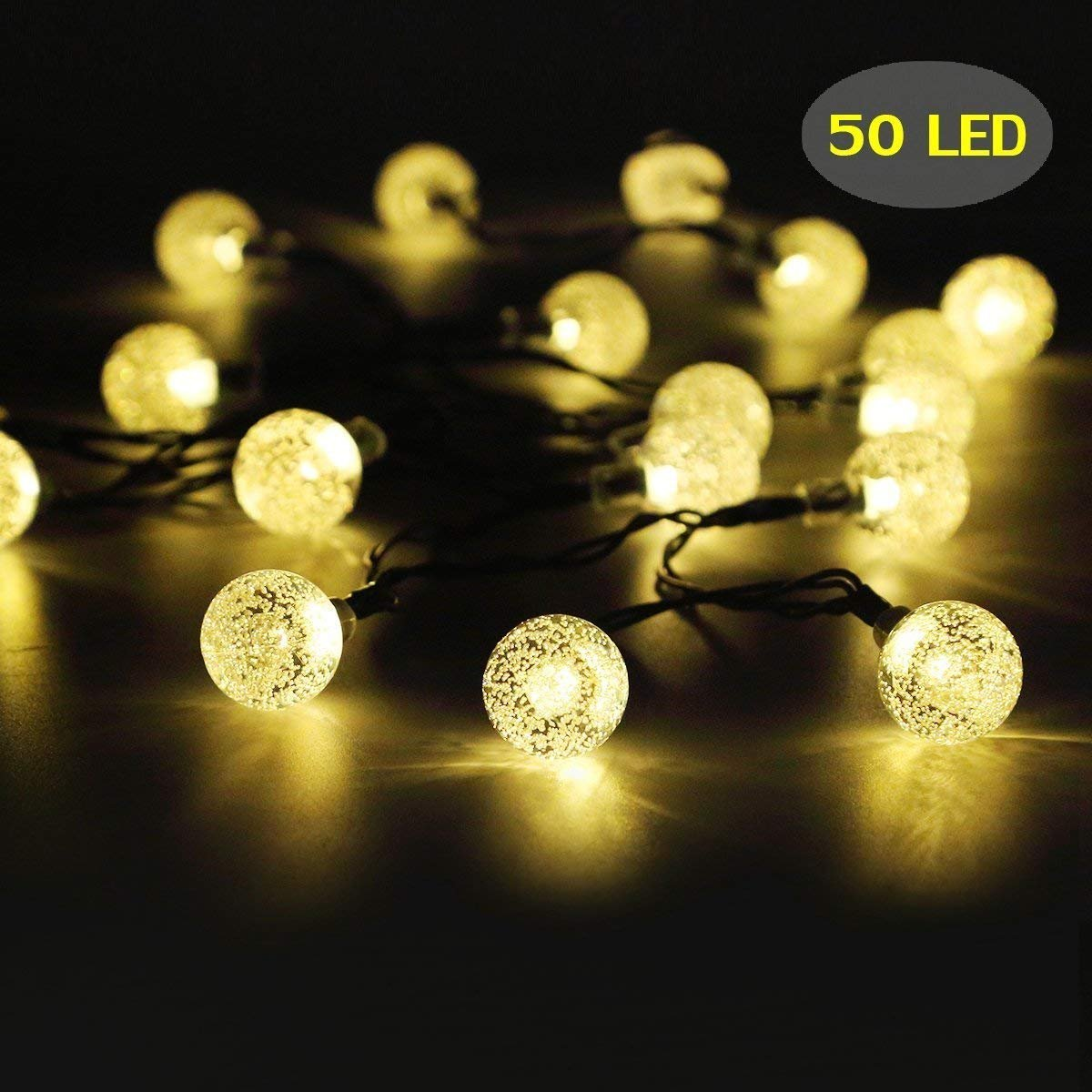 Crystal String Lights, DINOWIN Outdoor Solar String Lights 7M 50LED Solar Crystal String Lights Waterproof with 2 Lighting Mode for Christmas, Home, Garden, Indoor Outdoor Decoration (Warm White)