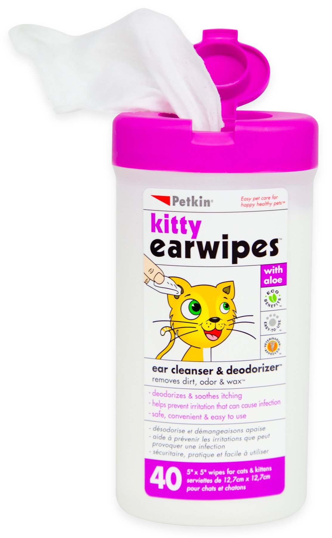 Petkin Kitty Ear Wipes, 40-Count Pack