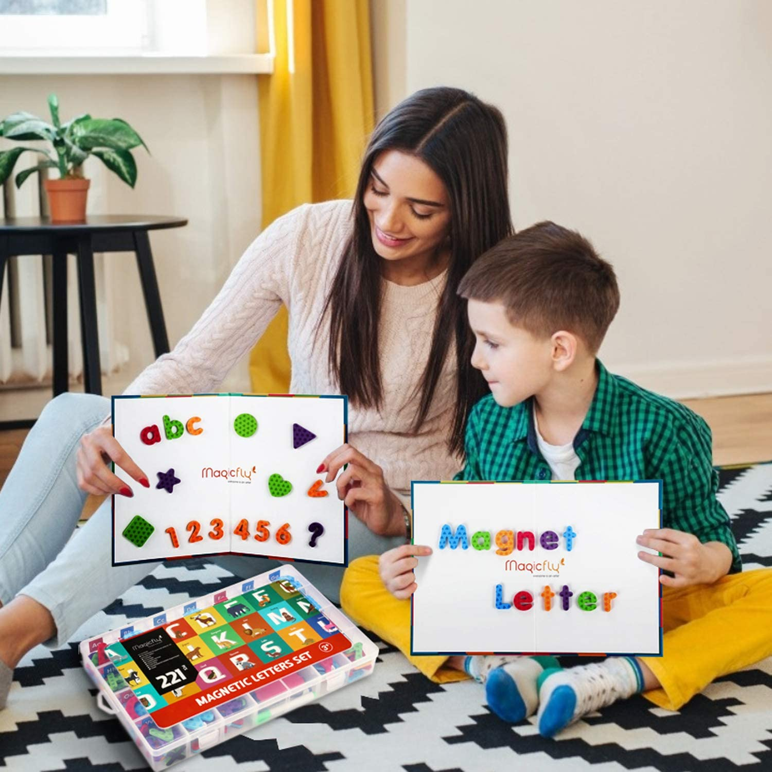 Double Sides Dry Erase Board Refrigerator Magnets for Kids Spelling /& Learning Magicfly 221 Pcs Alphabet Magnetic Letters and Numbers with Foldable Magnetic Board /& Storage Box