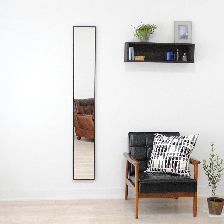 SENNOKI 細枠 全身 鏡 姿見 壁掛け ウォールミラー ダークブラウン 日本製 22cm×153cm B0714BZNHRダークブラウン