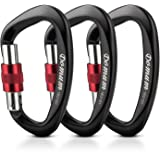 Domum Locking Climbing Carabiner,Screwgate Carabiner Clips Holds 2200kg, CE Certified for Rock Climbing,Hammock, outdoor,Black