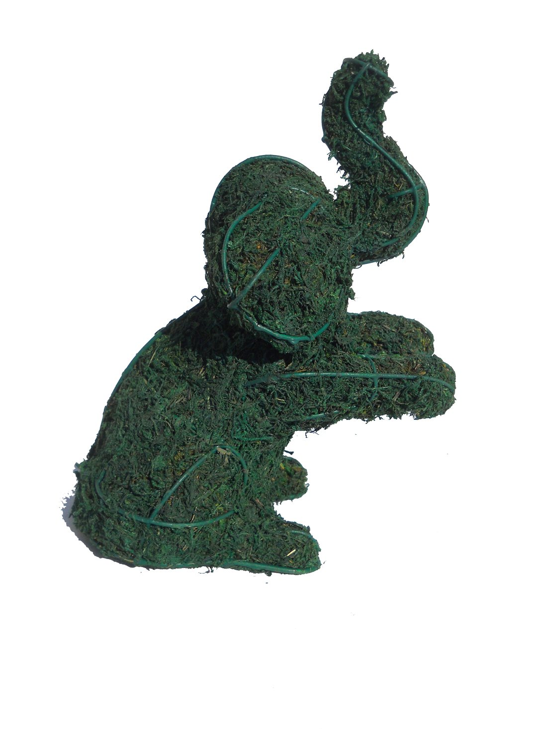 Elephant Sitting 8 Inches High Moss Topiary Frame, Handmade Animal Decoration