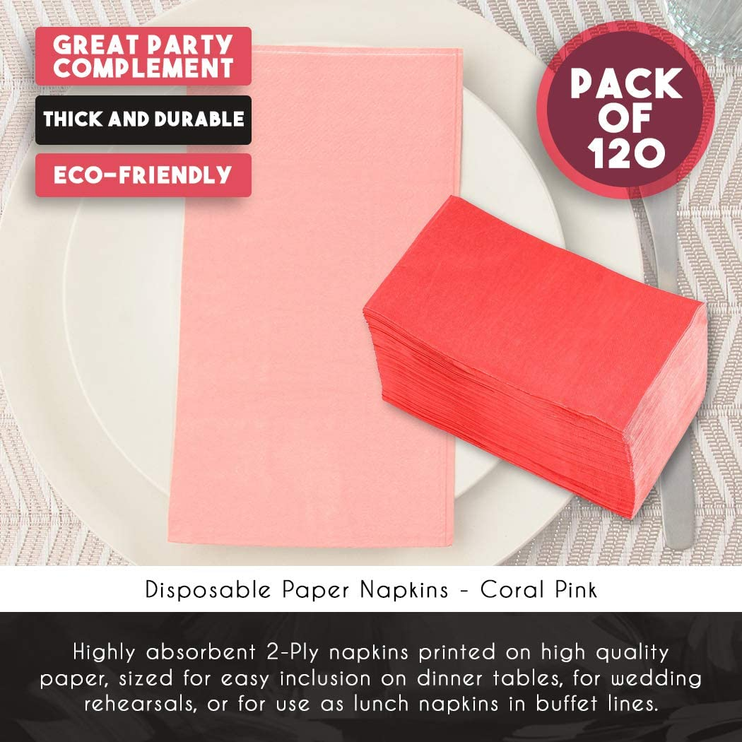 Serviettes en papier/ les /év/énements les f/êtes rose corail salle /à manger /Serviettes de table en 120-pack jetables 2/couches absorbantes Serviettes de table pour tous les jours de cuisine
