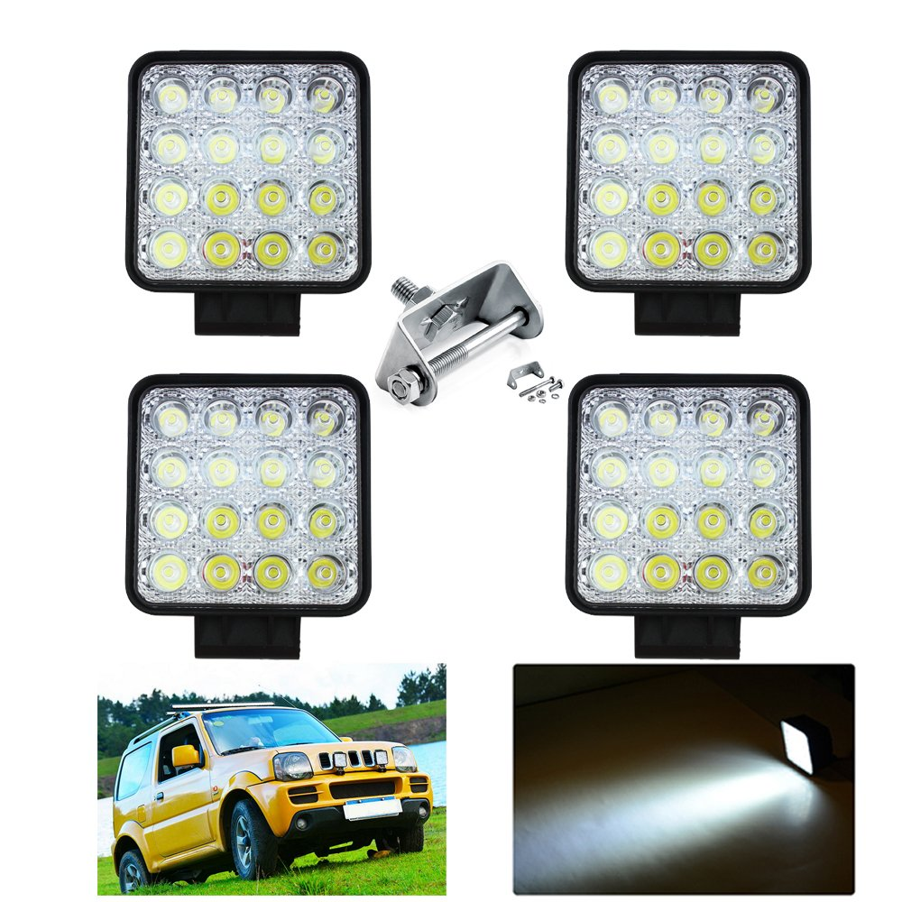 HENGDA® 4x 48 W LED Work Light Flood Lights Digger Work Light 6500 K Offroad Light Auxiliary Headlights Tractor