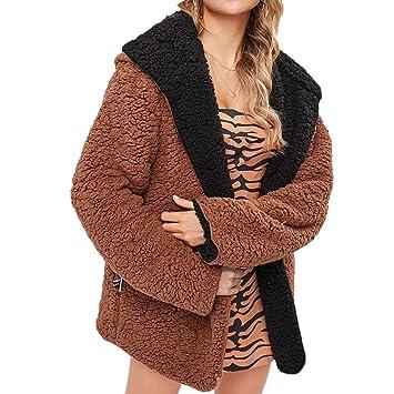 Btruely Abrigo de Invierno Mujer, Abrigo abrigado de Manga Larga Abrigo de Terciopelo sólido para