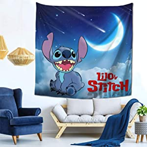 FT FENTENG Novelty Tapestry, Li-Lo & Sti-Tch Baby Anime Tapestries Wall Hanging Home Decor, Cozy Window Curtain for Bedroom Living Room Decoration, 59x59 Inch