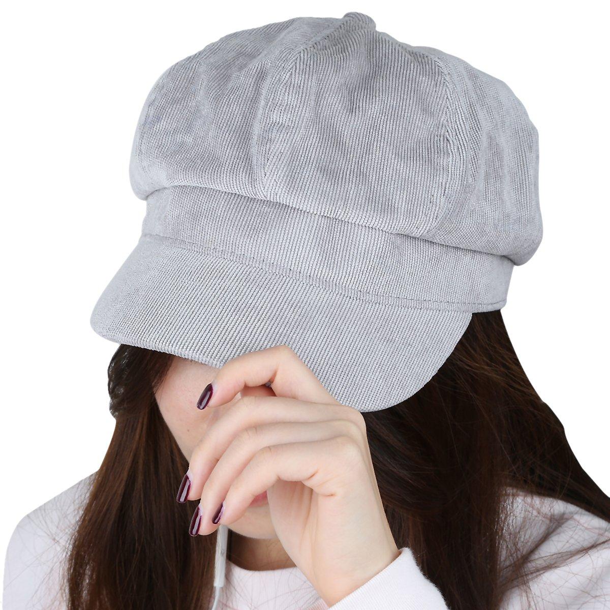 Samtree newsboy Cap For Women,8 Panel IVY Cabbie Beret Visor Brim Hat(Light Grey(Corduroy))