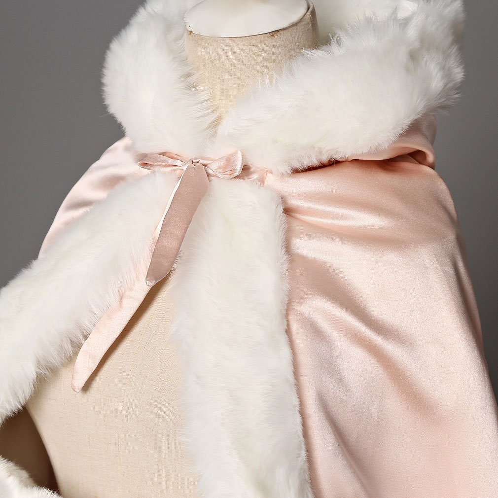 BEAUTELICATE Flower Girl Cape Winter Wedding Cloak for Infant Junior Bridesmaid Hooded Reversible Ivory 44 by BEAUTELICATE (Image #4)