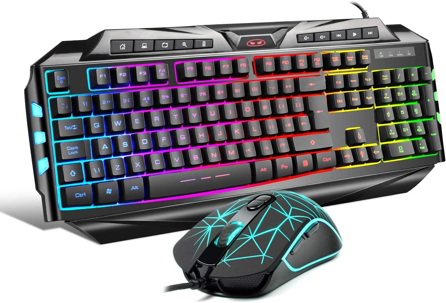 Juego de ratón para teclado de juegos GK710 Rainbow LED retroiluminado con cable y ratón, juego para xbox one USB PS4