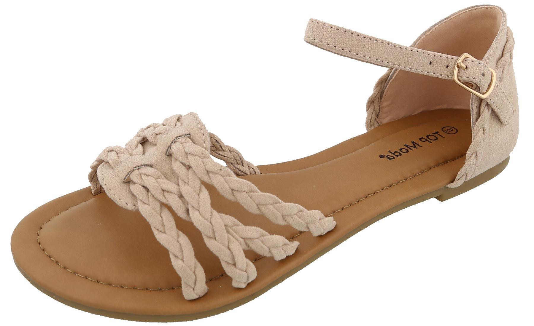 Top Moda Women's Braided Strappy Flat Sandal (7 B(M) US, Blush)