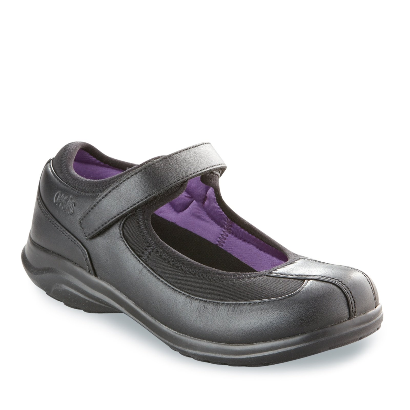 Oasis Women's Lona Mary Jane Shoes, Black/Purple, 9 M/C-D by Oasis