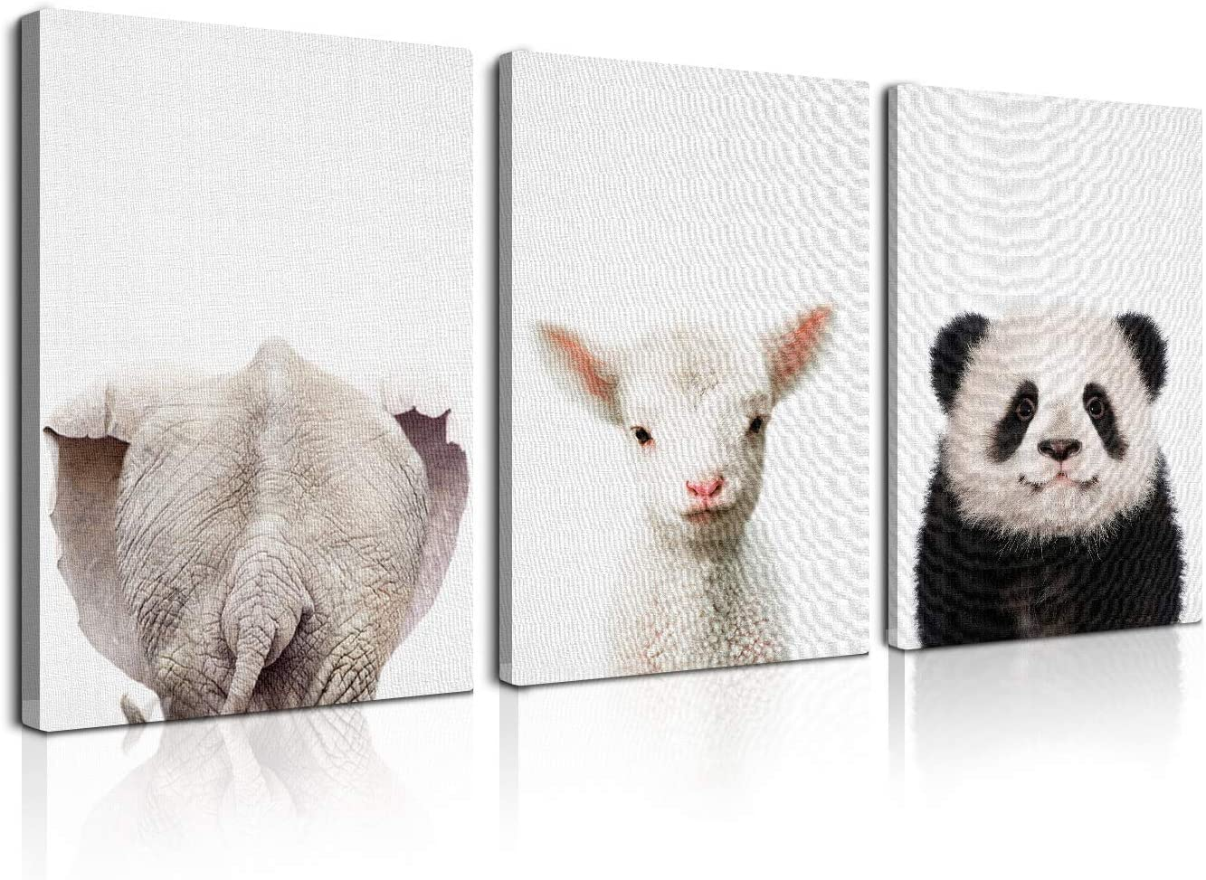 3 Pcs Framed Cute Funny Animal Wall Art Decor Lovely Animals Waterproof Canvas Poster Painting for Kids Bedroom Pet Shop Decor Ready to Hang (12x18Inchx3Pcs)