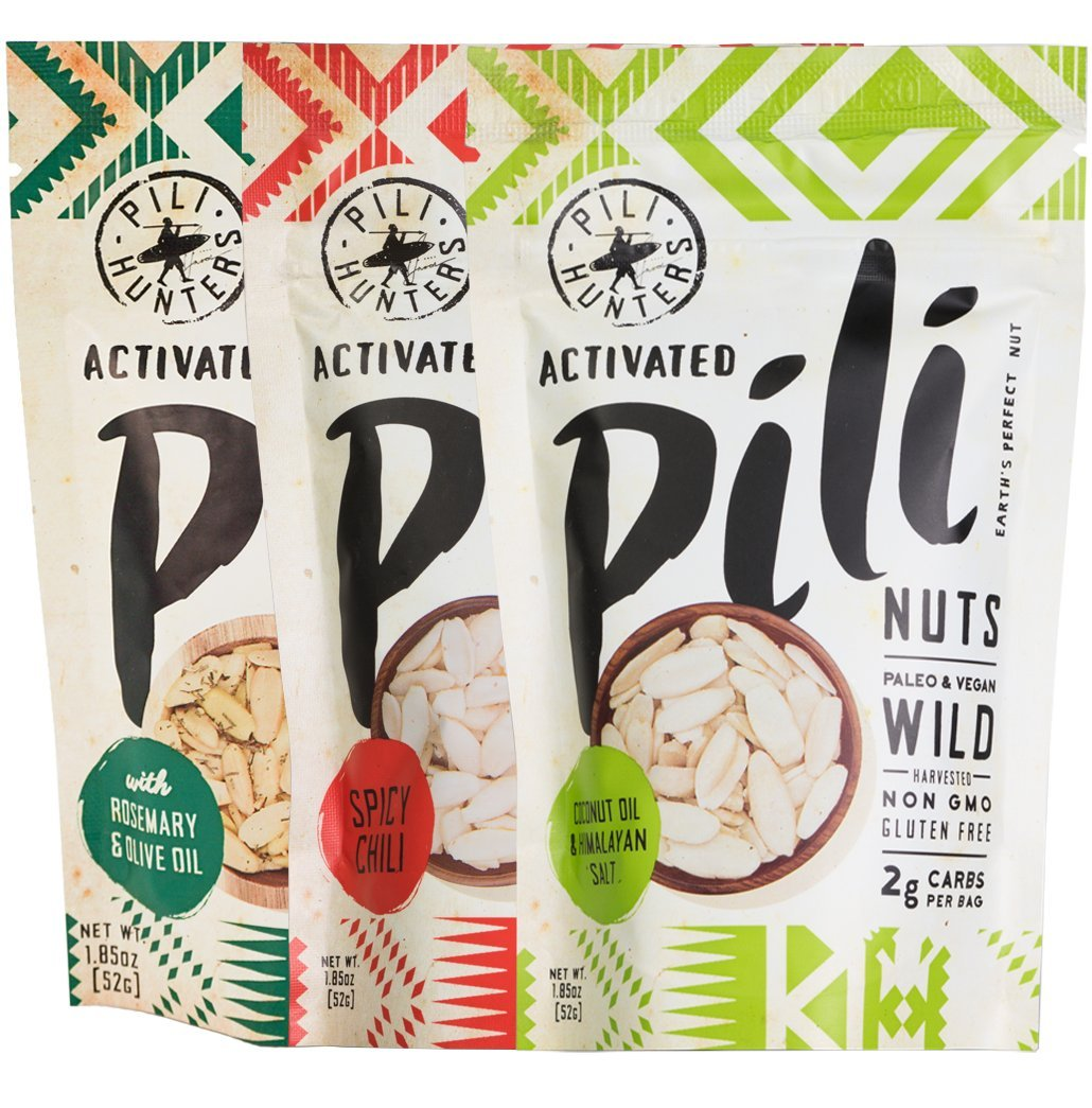 Pili Hunters Pili Nut Variety Pack, Original, Rosemary, Spicy Chili, Paleo, Keto, Vegan, Low Carb, 1.85 oz. Bags - 3-Pack