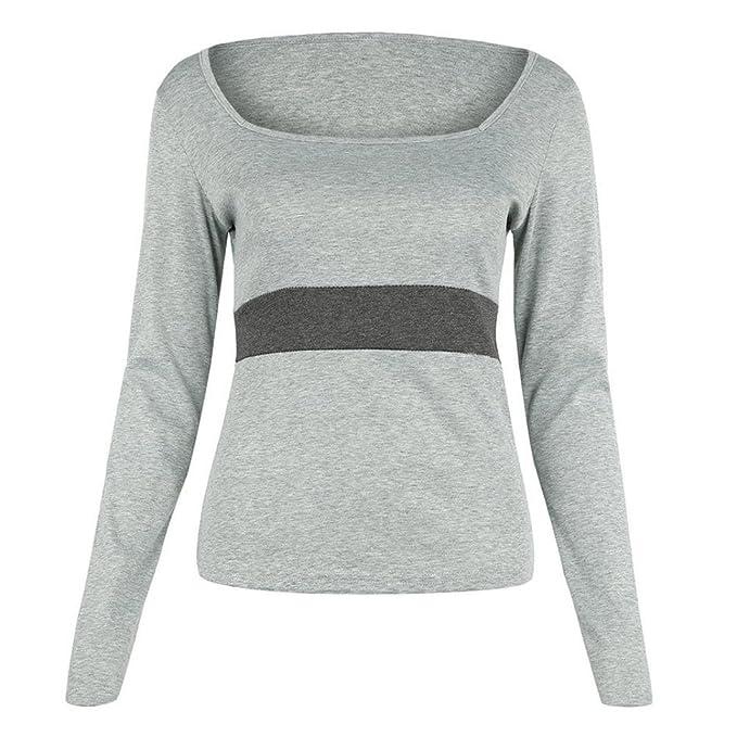 Yannerr mujer primavera U cuello apretado rayas Color de hechizo casual manga larga básica inferior camiseta tops suéter chaqueta sudadera blusa camisa mono ...