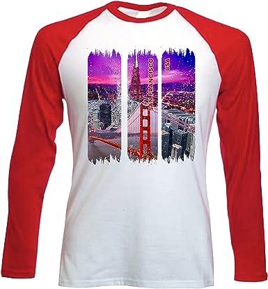 teesquare1st San Francisco USA Camiseta DE Mangas ROJA LARGAS T-Shirt: Amazon.es: Ropa y accesorios