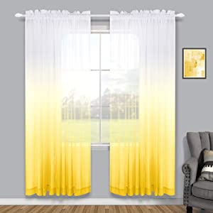 Yellow Curtains for Girls Room Set of 2 Panels Rod Pocket Linen Look Semi Sheer Voile Drapes Ombre Window Curtains for Bedroom Living Room Spring Decor Teen Kids Baby Nursery Boys 52 x 84 Inch Length
