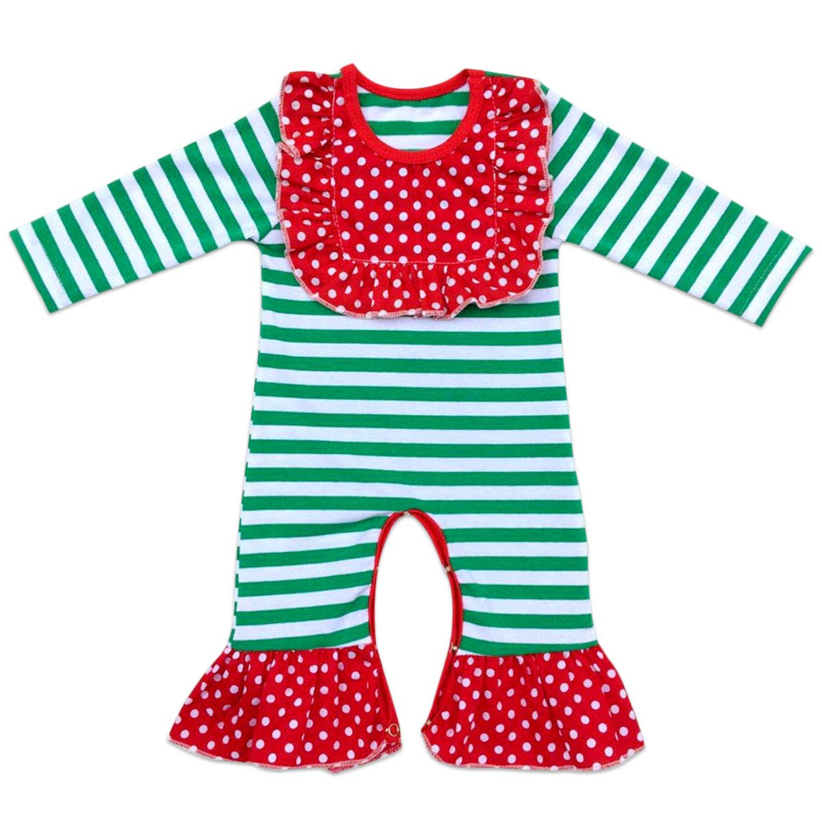 Baby Girls Icing Ruffle Jumpsuit Pants Christmas Floral Romper Bodysuit Long Sleeve Pajamas Birthday Outfits Playwear