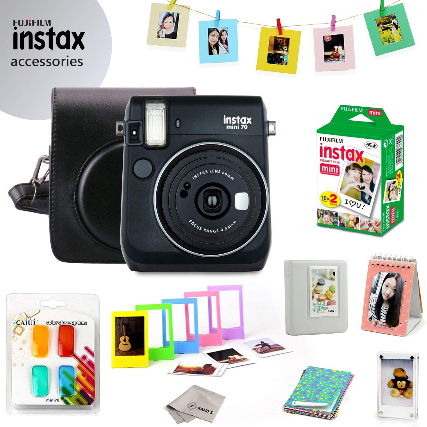 Fujifilm Instax Mini 70 Bundle (Black) - Fuji Camera Instant Film (20 Sheets) + 9-in-1 Accessory Bundle – Carry Case, 4 Color Filters, 2 Photo Albums, Assorted Frames & Much More