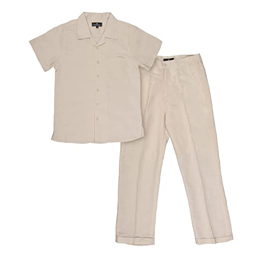 1940s Children's Clothing: Girls, Boys, Baby, Toddler Vittorino Boys Summer Linen 2 Piece Set With Pants and Short Sleeve Shirt $39.99 AT vintagedancer.com