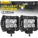 Aaiwa LED Lights Bars, LED Work Lights 4inch 18W Flood LED Pods Driving Fog Lights for Off-road,Truck, Car, ATV, SUV, Jeep,Boat Light,5 years Warranty