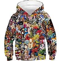 Leezeshaw Unisex Kid's 3D Anime Movie Superhero Printed Novelty Hooded Sweatshirt Pullover Hoodie with Kangaroo Pocket