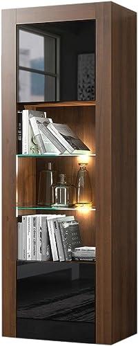 Editors' Choice: Milano Bookcase Matte Body High Gloss Fronts Walnut/Black