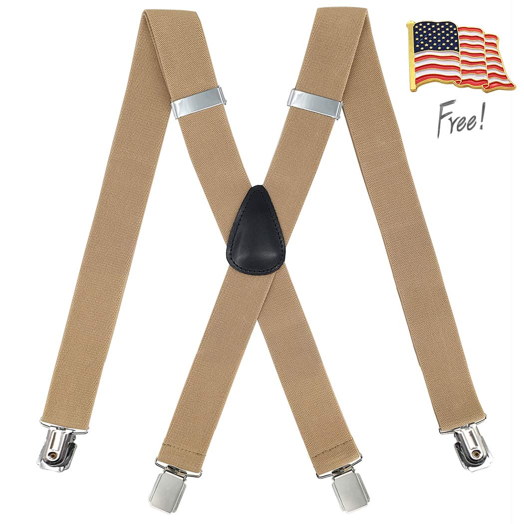 Heavy Duty Strong Clips Adjustable Elastic X Back Braces Big and Tall Mens Suspenders MEUUT Suspenders for Men