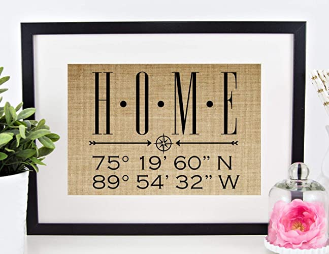 Personalized Housewarming Gifts For New Home Decor Homeowner Wedding Anniversary Real Estate Closing Latitude Longitude 8x10 Or 11x14 Burlap