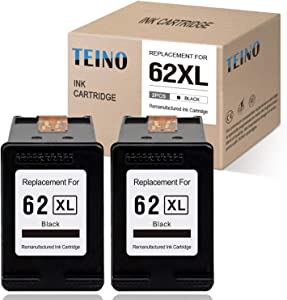 TEINO Remanufactured Ink Cartridges Replacement for HP 62 62XL 62 XL for HP OfficeJet 200 250 Envy 7640 5660 7645 5540 5740 5643 5640 5642 5663 5665 8000 (Black, 2 Pack)