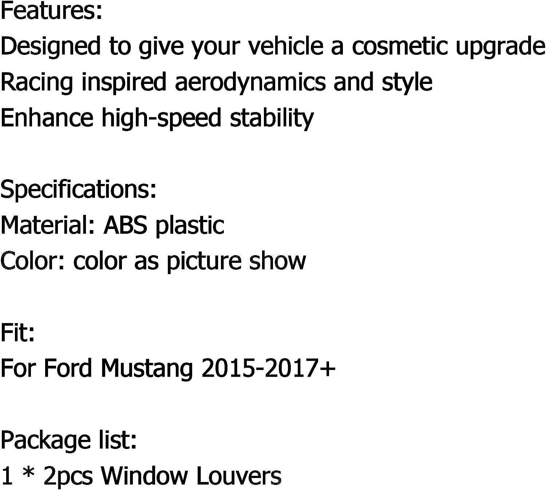 2 St/ück Louver Scoop Abdeckung f/ür F-O-R-D Mustang 2015-2018 hintere Seitenfenster Artudatech Autoscheibenverkleidung