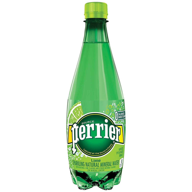 PERRIER Lime Flavored Sparkling Mineral Water, 16.9 fl oz. Plastic Bottles (Pack of 24)